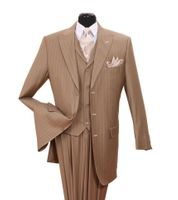 Mens Zoot Suits by Milano Tan White Gangster Stripe 3 Piece 5903V Size 38 Reg Final Sale