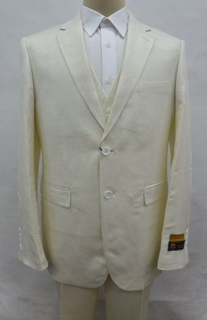 Ivory Linen Suit Men's Summer 3 Piece Alberto Linen-2BV