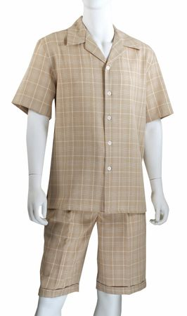 Jazz Mens Beige All Over Plaid Fashion Short Set SWP-1