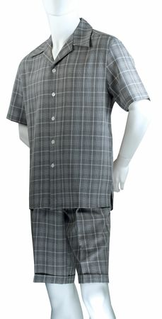Jazz Mens Black All Over Plaid Fashion Short Set SWP-1