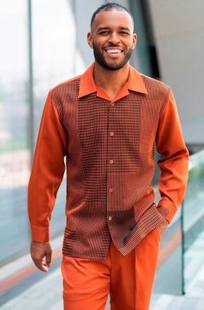 Montique Walking Suit Cognac Pattern Long Sleeve 2009