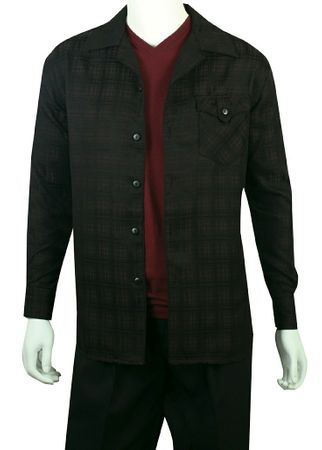 Jazz Mens Black Shadow Plaid Casual Walking Suits PLWP1