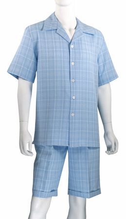 Jazz Mens Blue All Over Plaid Fashion Short Set SWP-1 Size M and L