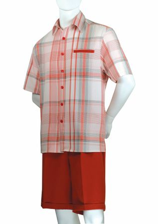 Jazz Mens Red Plaid Fashion Short Set SCF-1 Size M/30