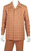 Jazz Mens Rust Shadow Plaid Casual Walking Suits PLWP1
