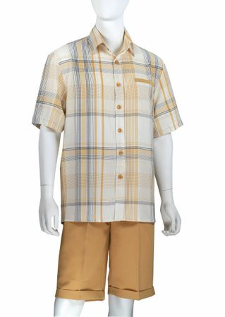 Jazz Mens Tan Plaid Fashion Short Set SCF-1