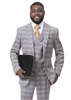 EJ Samuel Men's Gray Rust Plaid 3 Piece Fashion Suit M2720
