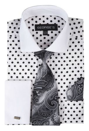 George Cotton White Polka Dot French Cuff Dress Shirt AH613