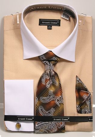 Avanti Mens Mustard Herringbone Cotton Dress Shirt Tie Set DN74M - click to enlarge