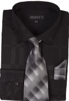 Mens Dress Shirt with Matching Tie and Hanky Black George AH623