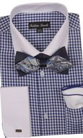 Milano Mens Navy Check French Cuff Bow Tie Shirt Set FL628
