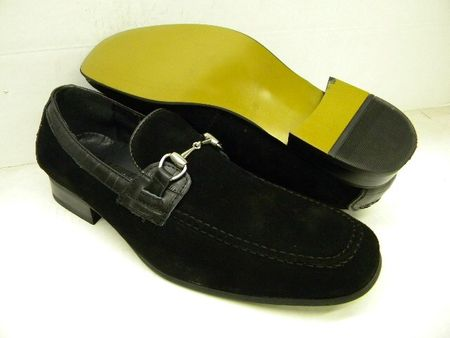 La Milano Mens Black Croc Trim Metal Buckle Suede Loafers A1134 Size 8.5