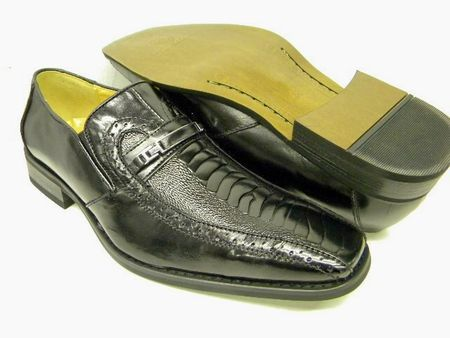 La Milano Mens Black Ostrich Leg Top Leather Bracelet Loafers A1108 IS