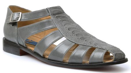 Giorgio Brutini Mens Gray Ostrich Print Closed Toe Sandals 21099 - click to enlarge
