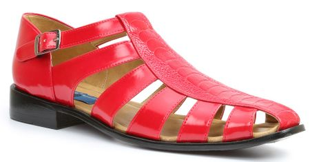Giorgio Brutini Mens Red Ostrich Print Closed Toe Sandals 21099 htm - click to enlarge