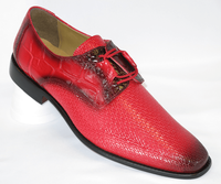 Liberty Mens Red Snake Texture Dress Shoes LS842