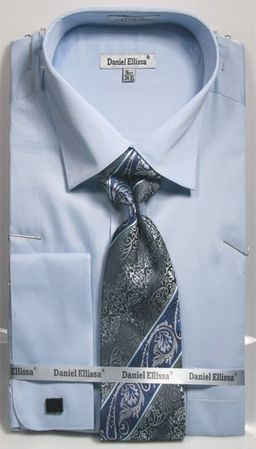 Light Blue Spread Collar Shirt With Ties French Cuffs (100% Cotton) DE DS3798P2