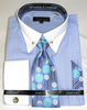 Light Blue Stripe Collar Bar Dress Shirt and Tie Set Avanti DN88