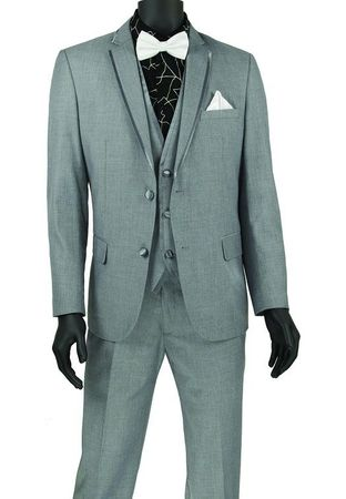 Light Gray Slim Fit Prom Suit with Vest Trimmed Lapels SV2T-8 - click to enlarge