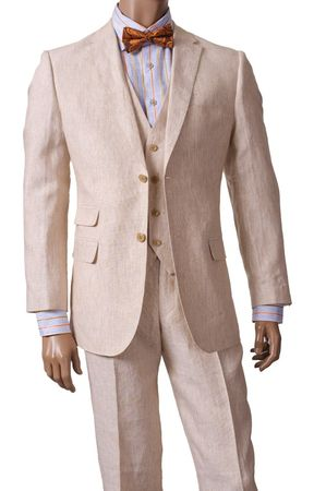 Inserch Men's Oatmeal Beige 3 Piece Linen Suit 66010B-07 IS