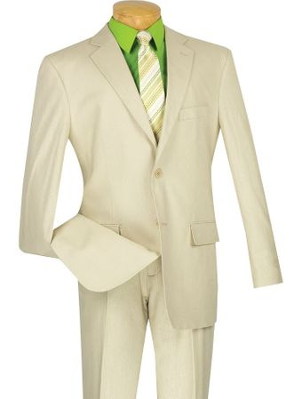 Vinci Mens Beige Linen Summer Suit 2 Piece FV2LC-1