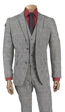 Inserch Mens Gray Plaid Linen 3 Piece Suit 660129B IS