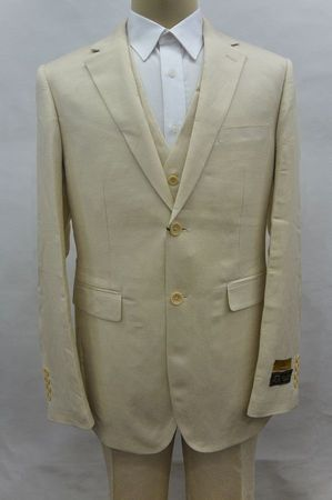 Tan Linen Suit Men's Summer 3 Piece Alberto Linen-2BV