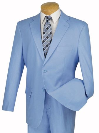 Light Blue Linen Suit for Men Flat Front Pants FV2LC-1