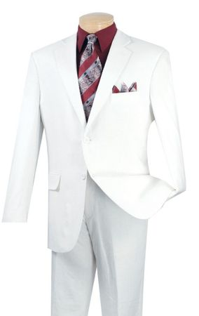 White Linen Suit for Men 2 Piece Flat Front Pants FV2LC-1