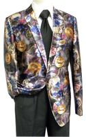 Pronti Men's Satin Fashion Blazer Purple Coin Pattern