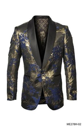 Men's Blue Floral Paisley 1 Button Jacket Empire ME278H-02