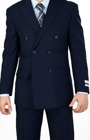 Lorenzo Bruno Double Breasted Navy Regular Fit Suit C602DB - click to enlarge