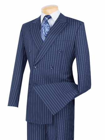 Men's Blue and White Stripe Double Breasted Suit Vinci DSS-4