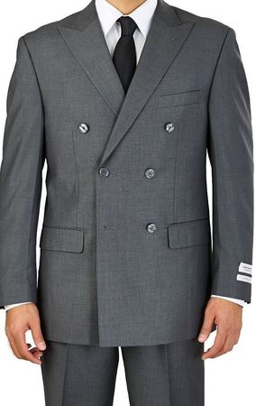 Lorenzo Bruno Men's Double Breasted Heather Grey Regular Fit Suit C602DB - click to enlarge
