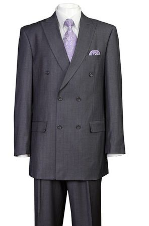 Milano Men's Gray Stripe Double Breasted Suit 5911B