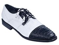 Los Altos Black White Crocodile Lizard Shoes Cap Toe ZV093755