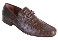 Los Altos Mens Brown Crocodile Loafer Slip On ZV108207