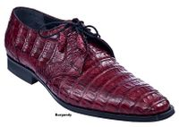 Los Altos Mens Burgundy Crocodile Shoes Plain Toe ZV088206