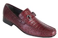 Los Altos Mens Burgundy Red Crocodile Loafer Slip On ZV108206