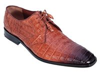 Los Altos Mens Cognac Crocodile Shoes Burnished Toe ZV088257