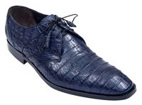 Los Altos Mens Navy Blue Crocodile Shoes Plain Toe ZV088210