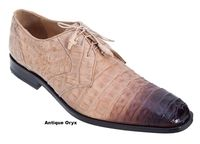 Los Altos Mens Tan Crocodile Shoes Burnished Toe ZV088215