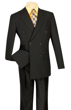 Lucci Mens Black 6 Button Double Breasted Blazer Z-DPP