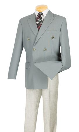 Lucci Mens Gray 6 Button Double Breasted Blazer Z-DPP