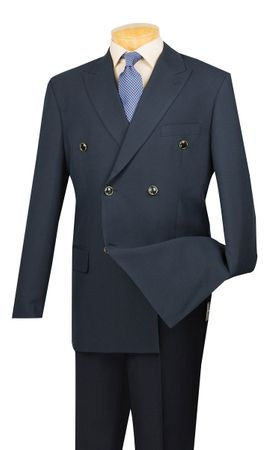 Lucci Mens Navy Blue Double Breasted Blazer Z-DPP
