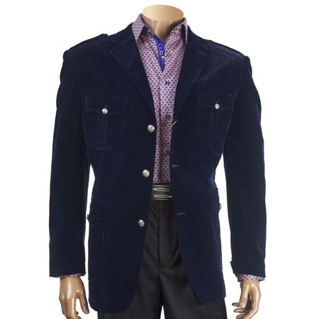 Inserch Mens Navy Blue Velvet Blazer Jacket Miltary Style 569