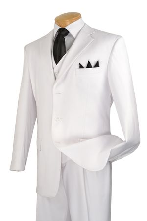 Lucci White 3 Button Mens Suits 3 Piece Suit V-3PP