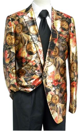 Pronti Men's Satin Fashion Blazer Jacket Brown Coin Pattern - click to enlarge