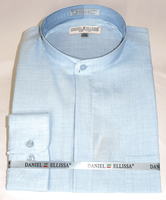 Mandarin Collar Shirt Powder Blue Long Sleeve Daniel Ellissa DS3115C