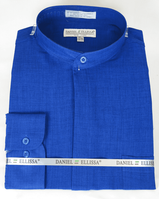 Mandarin Collar Shirt Royal Blue Long Sleeve Daniel Ellissa DS3115C